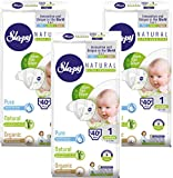 Sleepy Natural Diapers for Baby Newborn - Organic Diapers Highly Absorbent and Hypoallergenic Bamboo Diaper for Girls and Boys - Disposable Diapers 120 Count - Size 1, Child Weight 4-11 lbs