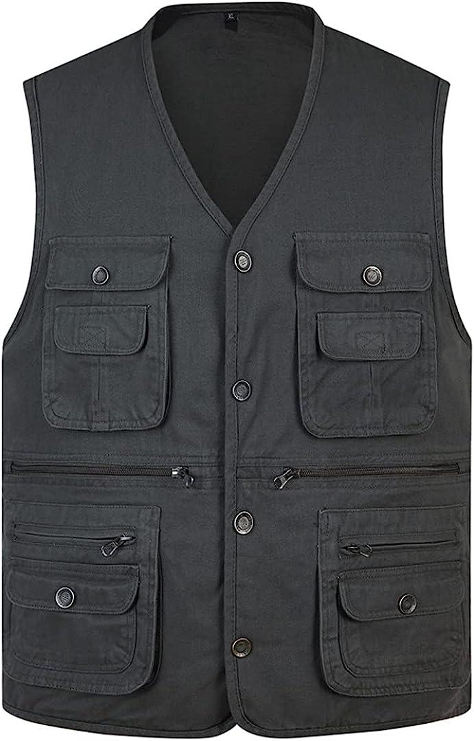 Cotton Thin Army Green Sleeveless Jacket Multi-Pocket Loose Vest