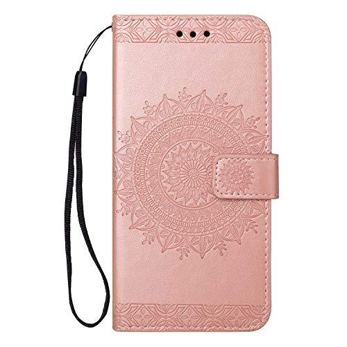 Coque Huawei P20, SONWO Gaufrage Mandala Motif Housse Cuir PU Flip Portefeuille Etui avec Portable Dragonne et Carte de Crédit Slot pour Huawei P20, Rose
