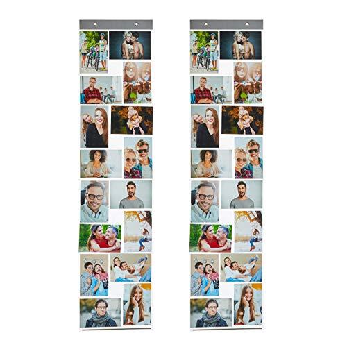 HAC24 2er Set Fotovorhang mit 16 Fototaschen 10x15cm für Bilder im Hoch und Querformat Fotohalter Bildervorhang Bilderhalter Foto Vorhang