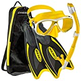 Cressi Palau Long Mask Fin Snorkel Set, Brisbane Yellow, X-Small/Small