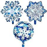 Haplws Globos de Aluminio en Forma de Copo de Nieve de Navidad Globos de Copo de Nieve de Invierno Copos de Nieve + Copos de Nieve Grandes + Copos de Nieve de 18 Pulgadas Paquete de 3