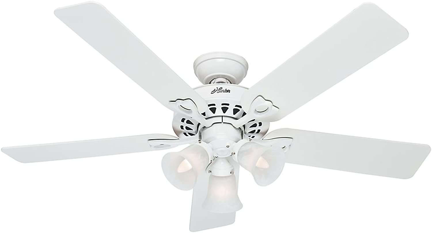 Hunter 53114 The Sontera 52-Inch Ceiling Fan with Five White Bleached Oak Blades and Light Kit, White