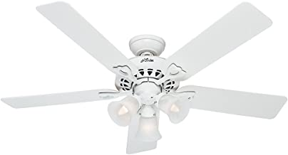 Hunter 53114 The Sontera 52-Inch Ceiling Fan with Five White/Bleached Oak Blades and Light Kit, White