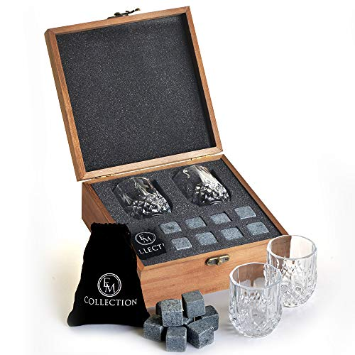 Whiskey Stones Gift Set w/ 8 Granite Whiskey Rocks,2 Crystal Whiskey Glasses...