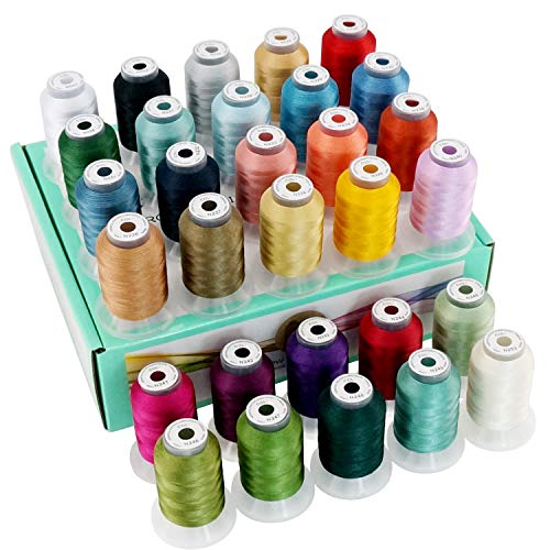 New brothread 30 Colors Polyester Embroidery Machine Thread Kit 500M (550Y) Each Spool - Colors Compatible with Janome and RA Colors - Assortment 2