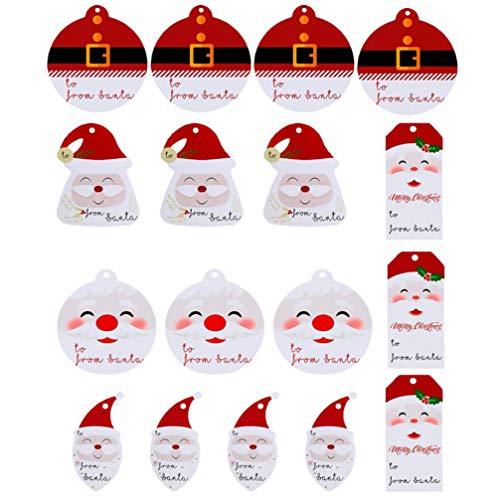 HEALLILY Weihnachtsgeschenkanhänger - Santa Claus Papier Geschenkanhänger für DIY Weihnachtsferiengeschenkverpackung 200 STK.
