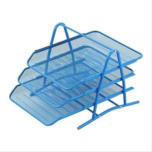 Bandeja escritorio organizador documentos metal (Azul, 3 niveles)