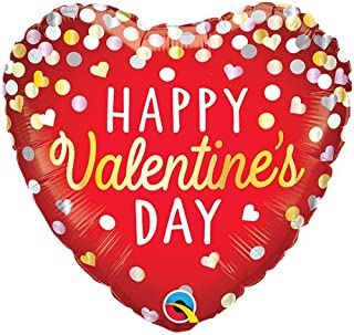 Qualatex Valentines Confetti Red Heart Foil Balloon, 18-inch Size