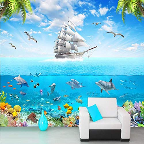 Behang vliesbehang, 3D, zonder naaien, eenvoudig behang, fotobehang, voile, dolfijn, 3D, onderwater, comic, afbeelding, woonkamer, kinderen, slaapkamer, wanddecoratie 250*175