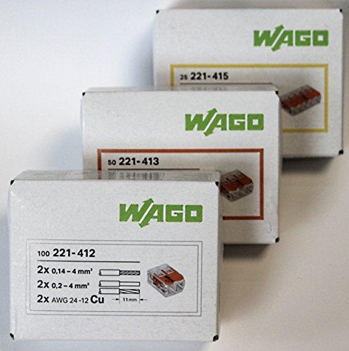 Wago 221 Klemmen SET 100x 221-412, 50x 221-413, 25x 221-415 | Kabel Verbinder - Original WAGO