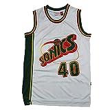 CLKJ # 40 Shawn Kemp SuperSonics - Camiseta de baloncesto para hombre, diseño retro bordado, para jóvenes al aire libre, malla transpirable (S-2XL), color blanco