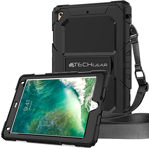 TECHGEAR VANGUARD Case fits New Apple iPad 9.7' 2018/2017 - Tough Rugged HEAVY DUTY Armour ShockProof Long Survival Protective Case with Stand and Shoulder Strap - Fits 5th & 6th Gen iPad 9.7'