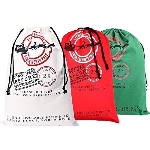 Shuxinmd Navidad Cordones Bolsa Saco de Papa Noel Lona de Algodón Bolsa Reutilizable para Fiesta Boda Detalle Bolsa Decoración Navidad 3 Piezas