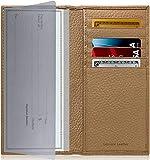 Access Denied Checkbook Hülle aus echtem Leder für Damen & Herren – Scheckhefthalter, Scheckhefteinband für Doppelscheckkarten-Geldbörse RFID - Grau - Mittel