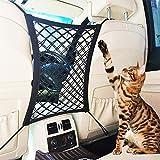Dog Car Barrier, 2 Layer Seat Back Handbag Holder, Car Mesh Organizer, Barrier of Backseat Pet Kids, Cargo Tissue Purse Holder, Driver Storage Netting Pouch
