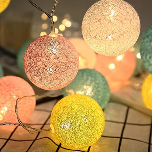 Padwa Lifestyle Fairy Lights LED String Lights 20Pcs Indoor Cotton Ball String Lights White Xmas Fairy Lights Starry Wall Light Wedding Party Home Christmas Decoration (Batteries, Candy)