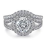 ZRFNFMA Anillo de mujer de plata esterlina 925 Zircon fila diamante combinación conjunto anillo diamante personalizado joyería blanco-7 #