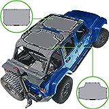 Alien Sunshade Jeep Wrangler JKU (2007-2018) – Front & Rear Mesh Sun Shade for Jeep JK Unlimited - Blocks UV, Wind, Noise - Bikini Jkini Top Cover for Sport, Sport S, Sahara, Rubicon (Gray)