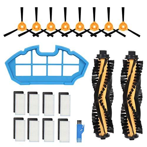 YIONGA CAIJINJIN aspiradora Kit de Accesorios Compatible with Deebot N79S y N79 Robotic Vacuum Cleaner - 2 Cepillo Principal +1 Filtro primario Filtros + 8 + 8 cepillos Laterales Accesorios