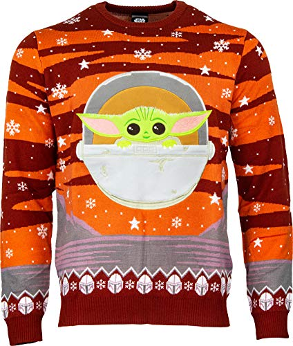 Numskull Unisex Official Star Wars The Mandalorian The Child Baby Yoda Knitted Christmas Sweater for Men or Women - Ugly Novelty Jumper Gift