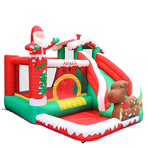 Inflatable Bounce House with Blower, Kids Bouncer Christmas Theme Jumping Castles with Pool for Indoor Outdoor, Water Slide and Ball Pit, Party Birthday Santa (Multicolour)