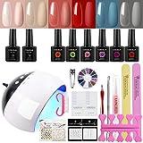 COSCELIA Gel Nail Polish Kit With LED UV Nail Lamp,6 Colors 10ml Soak