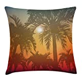 Ambesonne Hawaiian Throw Pillow Cushion Cover, Los Angeles Miami Tropical Places Palm Trees in Abstract Style Art Print, Decorative Square Accent Pillow Case, 24' X 24', Orange Grey