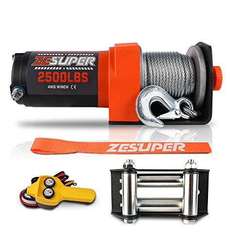 ZESUPER 2500 lb 12V DC Electric Winch Steel Cable Off Road Waterproof UTV ATV Boat Modified Vehicles Winch Kits Handheld Remote