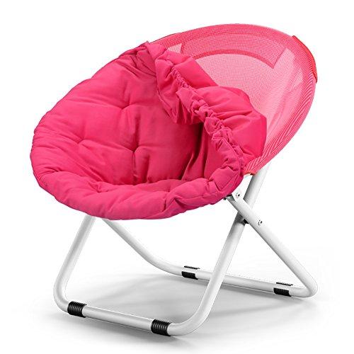 ZCJB Chaise Pliante Lounge Chaises Pliantes Jardin Chaise Paresseuse Chaise Radar Chaise Pliante Chaise Ronde Canapé Chaise Coussins Amovibles (Couleur : Rose Rouge)