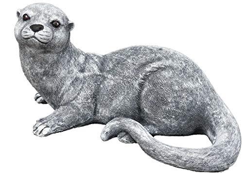 Steinfigur Otter, Frost- und wetterfest bis -30°C, massiver Steinguss, Frettchen