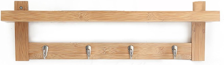 GWDJ Coat Rack Creative Wall-Mounted Coat Rack Bedroom Solid Wood Hangers Living Room Hook Up Storage Rack Coat Rack Shelf (color   Wood color, Size   61cm)
