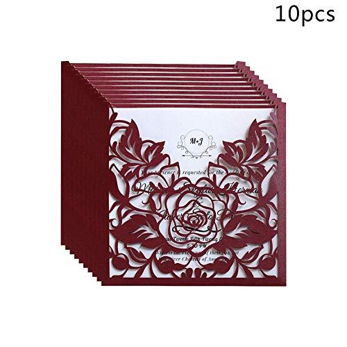 gaeruite Einladungen Karten, 10PCS Partyeinladungen Spitze Taschen Hochzeitseinladungen Karten für Event Party Supplies