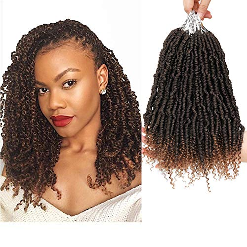 6 Packungen Pre-twisted Spring Twist Hair, 14 Zoll kleine Pre-twisted Passion Twist Crochet Hair, synthetische Bomb Twist Crochet Hair (T27)
