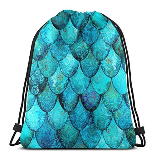 LREFON Mochila con cordón para gimnasio, mochila con escamas de pescado azul, bolso para almacenamiento deportivo, organizador de zapatos, ahorro para estudiantes de Yoga