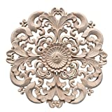 Yuer - Decalque de escultura de madera esculpida vintage redonda, aplique decorativo para armario, gabinete, casa, muebles, decoración #2