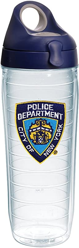 Tervis 1244729 Nyc Company Nypd Insulated Tumbler With Emblem And Navy With Gray Lid 24 Oz Clear