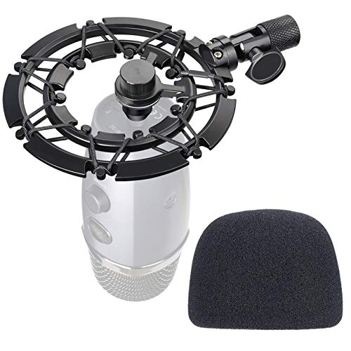 Blue Yeti Nano Shock Mount with Pop Filter, Alloy Shockmount with Foam Windscreen Reduces Vibration and Shock Noise Matching Boom Arm Mic Stand, Designed for Blue Yeti Nano Microphone by YOUSHARES