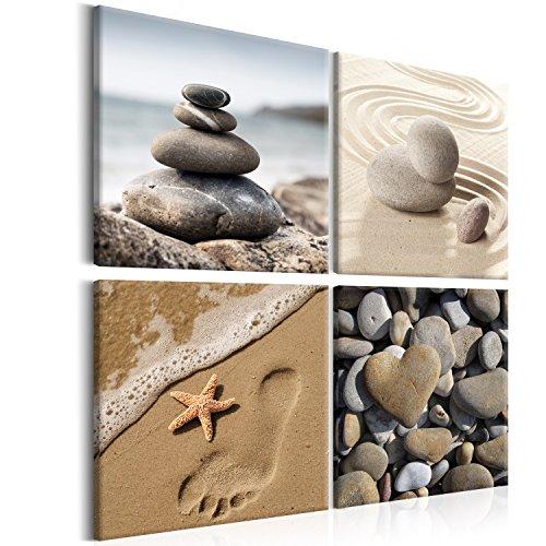 murando - Bilder Strand 80x80 cm Vlies Leinwandbild 4 Teilig Kunstdruck modern Wandbilder XXL Wanddekoration Design Wand Bild - Natur Meer Sand Wasser Zen beige b-B-0235-b-i