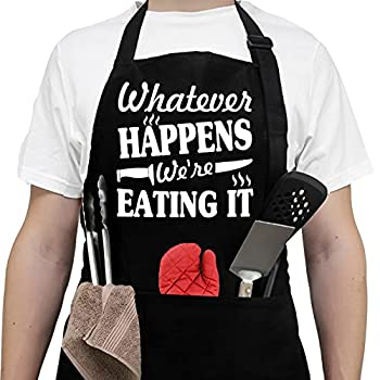 Aprons For Men Women With Pockets - Fathers Day Giftss - Dad Gifts Birthday Gifts For Dad Boyfriend Husband Brother Uncle Grandpa Her Him - Chef Kitchen Cooking Grill Bbq Baking Aprons