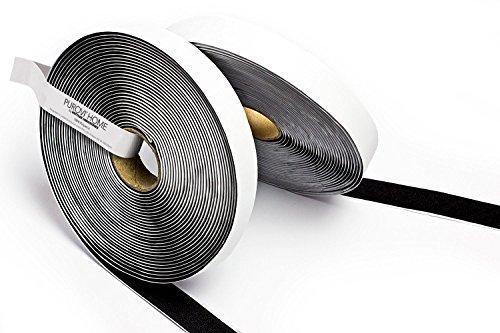 Purovi Klettband selbstklebend, schwarz, Flausch & Haken, 5m lang - 20mm breit