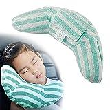 Almohada Para Bebé - Sujeta la Cabeza de Niños en Coche y Carrito 2 en 1 Reposacabezas Coche y Protector Cinturón Seguridad Para Bebés y Niños Accesorios Coche Niños (Azul)