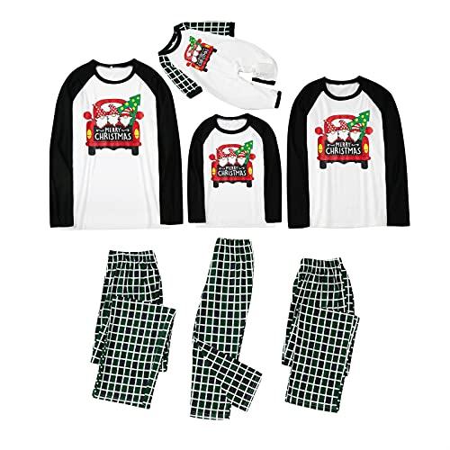 Matching Family Pajamas Sets Christmas PJ's with Christmas Element Printed Tops and Plaid Pants Set Xmas Loungewear