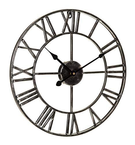 B-Creative - Reloj de Pared de Estilo Vintage Tradicional con números Romanos (40 cm), Color Plateado