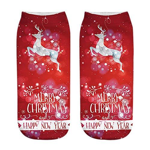 Yumso Noël Chaussette Chaude Colorful Imprimé Des Motif 3d Imprimé Père Noël Chaussette Mignon Noël Bonhomme de Neige Unisexe Chic Casual Chaussettes de Bateau