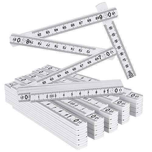 Gliedermaßstab, 6 Stück Zollstock 1M aus Kunststoff mit 10 Glieder Meterstab Geschenk für Alle Heimwerker, Haus, Hobby & Werkstatt, Metrisch und Weiß