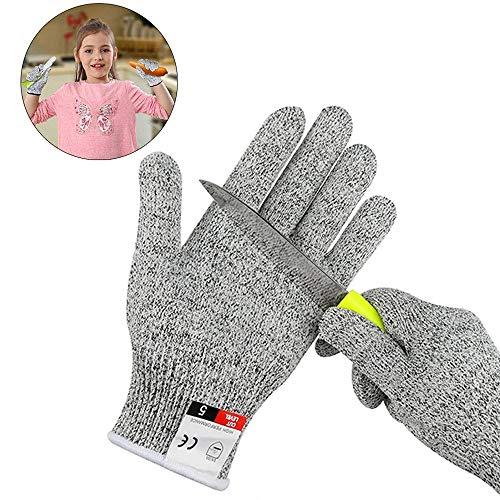 Schnittsichere Handschuhe für Kinder, Schnittschutzhandschuh - Extra Starker Level 5 Schutz, Arbeitshandschuhe Kinder, lebensmittelecht, Messer zu schärfen,Holz zu schnitzen, XXS (5-8 Jährige)