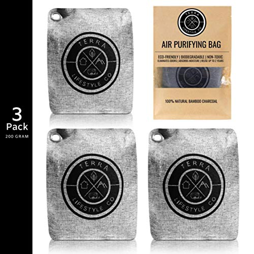 TERRA LIFESTYLE CO - 3 Pack 200G Air Freshener Bamboo Charcoal Air Purifying Bag | Charcoal Bags Odor Absorber | Bamboo Charcoal Bags | Moisture Absorber | Odor Eliminator for House | Bathroom Room Car Air Freshener Deodorizer