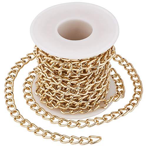 16 piedi/rotolo di alluminio dorato catene di collegamento 5 m non saldate catene attorcigliate 10x6.5mm per collana gioielli accessori fai da te