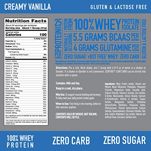 Isopure Zero Carb, Vitamin C and Zinc for Immune Support, 25g Protein, Keto Friendly Protein Powder, 100% Whey Protein Isolate, Flavor: Creamy Vanilla, 3 Pounds (Packaging May Vary)